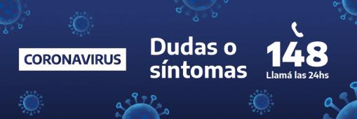 Imagen de Dudas o Síntomas de Coronavirus llama al 148 las 24 horas