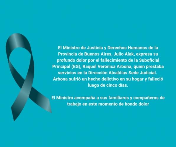 Ministro Alak expresa su profundo dolor por el fallecimiento de la Suboficial Principal (EG) Raquel Verónica Arbona