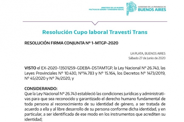 Se creó la comisión mixta para implementar el cupo laboral travesti trans
