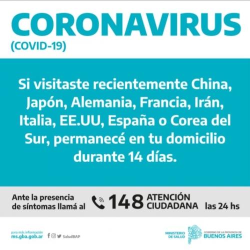 Las personas que viajaron a países con circulación viral de Coronavirus deben consultar ante síntomas respiratorios