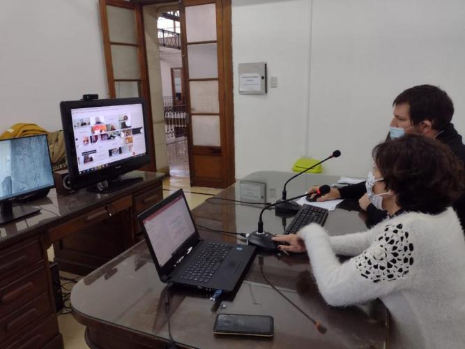 Crespo y Rey durante la jornada virtual.