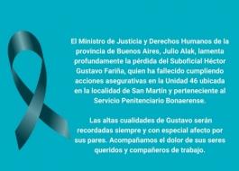 Ministro de Justicia y DDHH lamenta profundamente la pérdida del Suboficial Héctor Gustavo Fariña