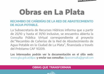 Consulta pública virtual para obras de agua en La Plata