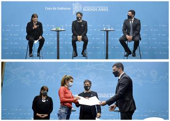 Teresa García junto al Gobernador y Zalabardo durante el acto