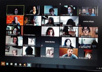 Los participantes reunidos en forma virtual.
