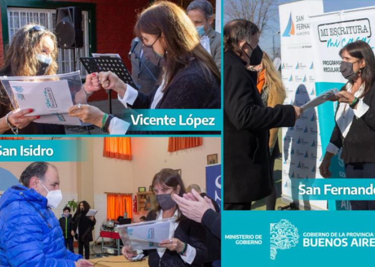 Se entregaron escrituras a familias de San Fernando, San Isidro y Vicente López