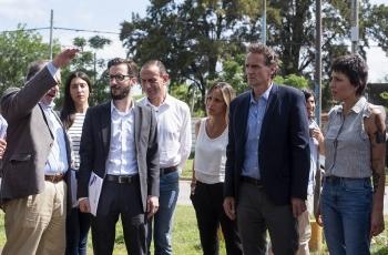 Los ministros Simone y Katopodis en la recorrida