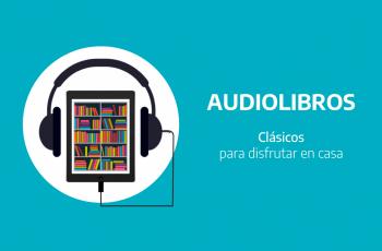 Dibujo que simula una biblioteca con auriculares e incluye el texto Audiolibros, Clásicos para disfrutar en casar e